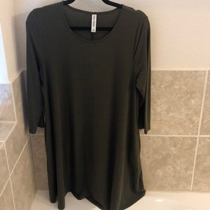 Olive green tunic/dress with pockets